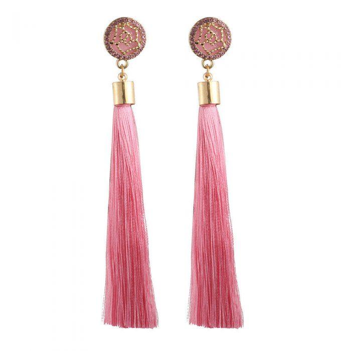 Ohrringe mit rosa Quaste